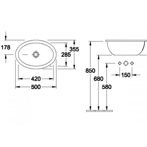v b villeroy boch loop friends einbau waschtisch 50x35 5 cm 615510 ebay. Black Bedroom Furniture Sets. Home Design Ideas