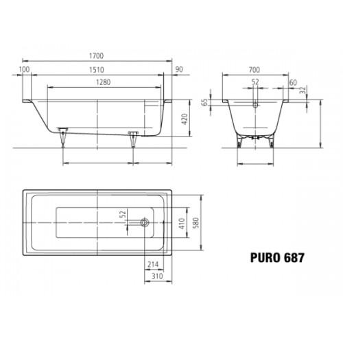 kaldewei stahl badewanne ambiente puro 687 170 x 70 cm. Black Bedroom Furniture Sets. Home Design Ideas