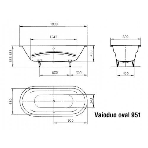 kaldewei badewanne ambiente vaio duo oval 951 180x80 cm 23310001 design in bad. Black Bedroom Furniture Sets. Home Design Ideas