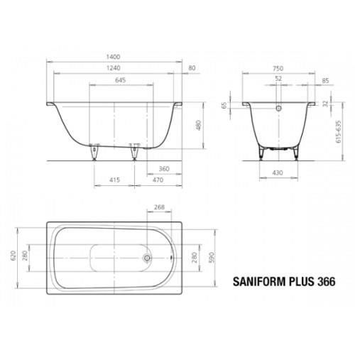 kaldewei stahl badewanne saniform plus 366 140 x 75 cm wei 113700010001. Black Bedroom Furniture Sets. Home Design Ideas