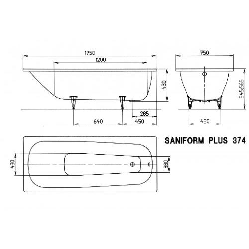 kaldewei stahl badewanne saniform plus 374 175 x 75 cm. Black Bedroom Furniture Sets. Home Design Ideas