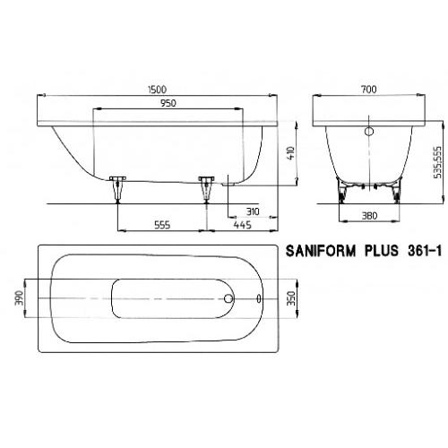 kaldewei stahl badewanne saniform plus 361 1 150 x 70 cm. Black Bedroom Furniture Sets. Home Design Ideas