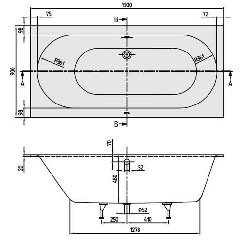 villeroy boch badewanne rechteck oberon 1900x900. Black Bedroom Furniture Sets. Home Design Ideas