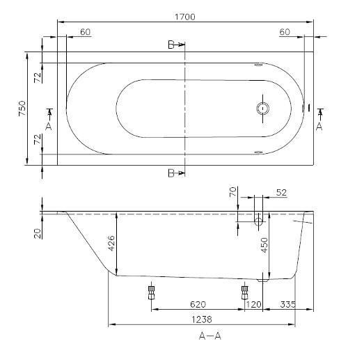 villeroy boch badewanne rechteck oberon 1700x750. Black Bedroom Furniture Sets. Home Design Ideas