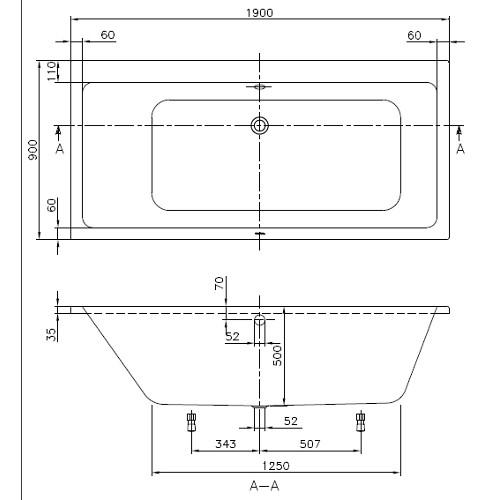v b villeroy boch subway duo acryl badewanne 190 x 90 cm rechteck ba199sub2v01 ebay. Black Bedroom Furniture Sets. Home Design Ideas