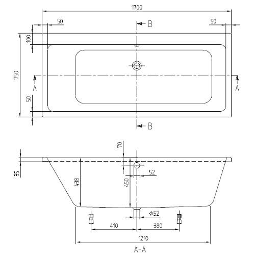 v b villeroy boch subway duo acryl badewanne 170 x 75 cm. Black Bedroom Furniture Sets. Home Design Ideas