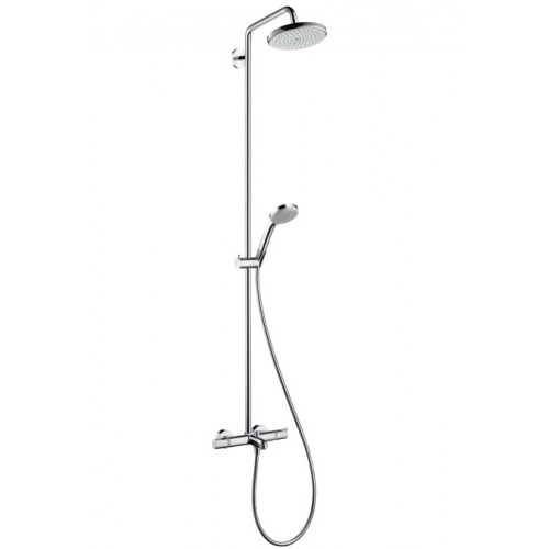hansgrohe showerpipe croma 220 f r wanne chrom mit thermostat design in bad. Black Bedroom Furniture Sets. Home Design Ideas