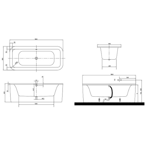 villeroy boch acryl badewanne loop friends duo freistehend eckig 180 x 80 ebay. Black Bedroom Furniture Sets. Home Design Ideas