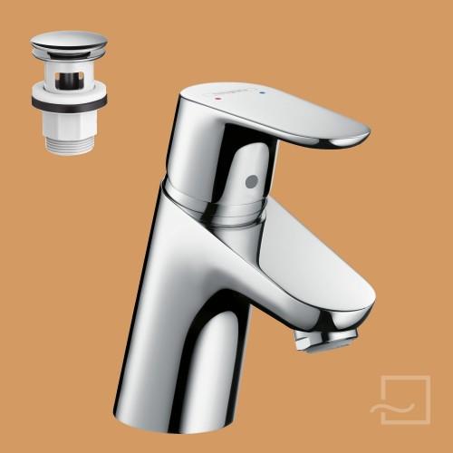 hansgrohe waschtischmischer focus 70 push open 31604. Black Bedroom Furniture Sets. Home Design Ideas