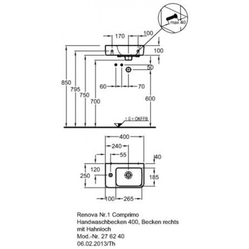 keramag renova comprimo neu hwb 40x25cm hl links 276240. Black Bedroom Furniture Sets. Home Design Ideas