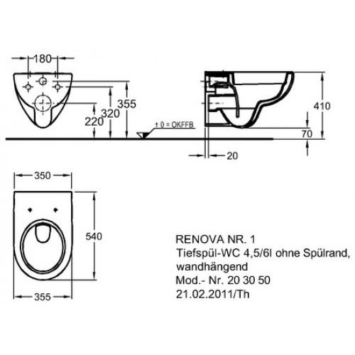 keramag tiefsp l wand wc renova nr 1 203050 5 6l sp lrandlos rimfree ebay. Black Bedroom Furniture Sets. Home Design Ideas
