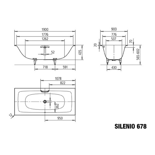 Kaldewei silenio 678 stahl badewanne 190 x 90 x 43 5 cm for Sechseck badewanne stahl